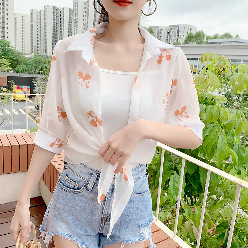 Medium and Long Wild Chiffon Small Suit Female Loose Thin White Suit Large Size Summer Sun Protection Clothing