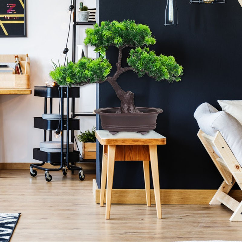 Simulation Bonsai Welcoming Pine Potted Green Pine For Home Decorations Desktop Ornaments Shopee Indonesia
