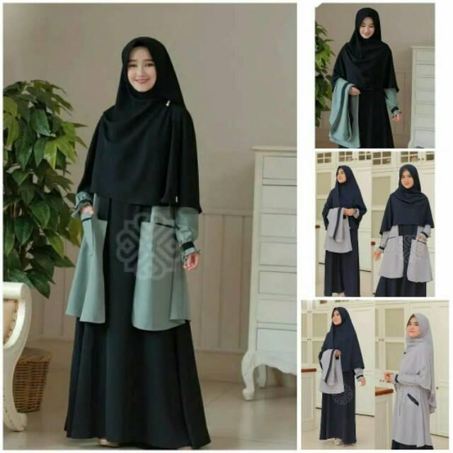 [ cod ] elbina set - setelan hijab - setelan syari