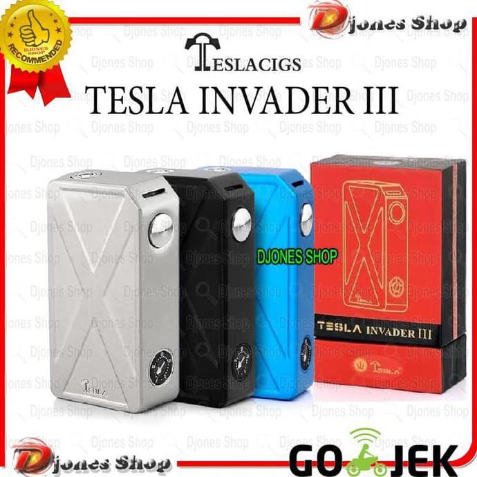 Vape Tesla Invader 3 Iii Semi Mecha Mod 240w Blue Shopee Indonesia
