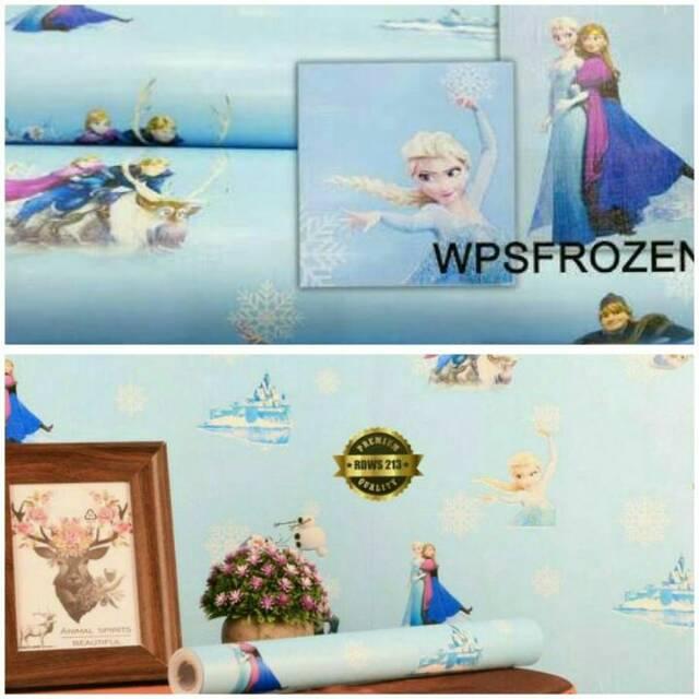 Grosir Wallpaper Stiker Dinding Kamar Anak Karakter Frozen Ana Elsa Biru Cantik