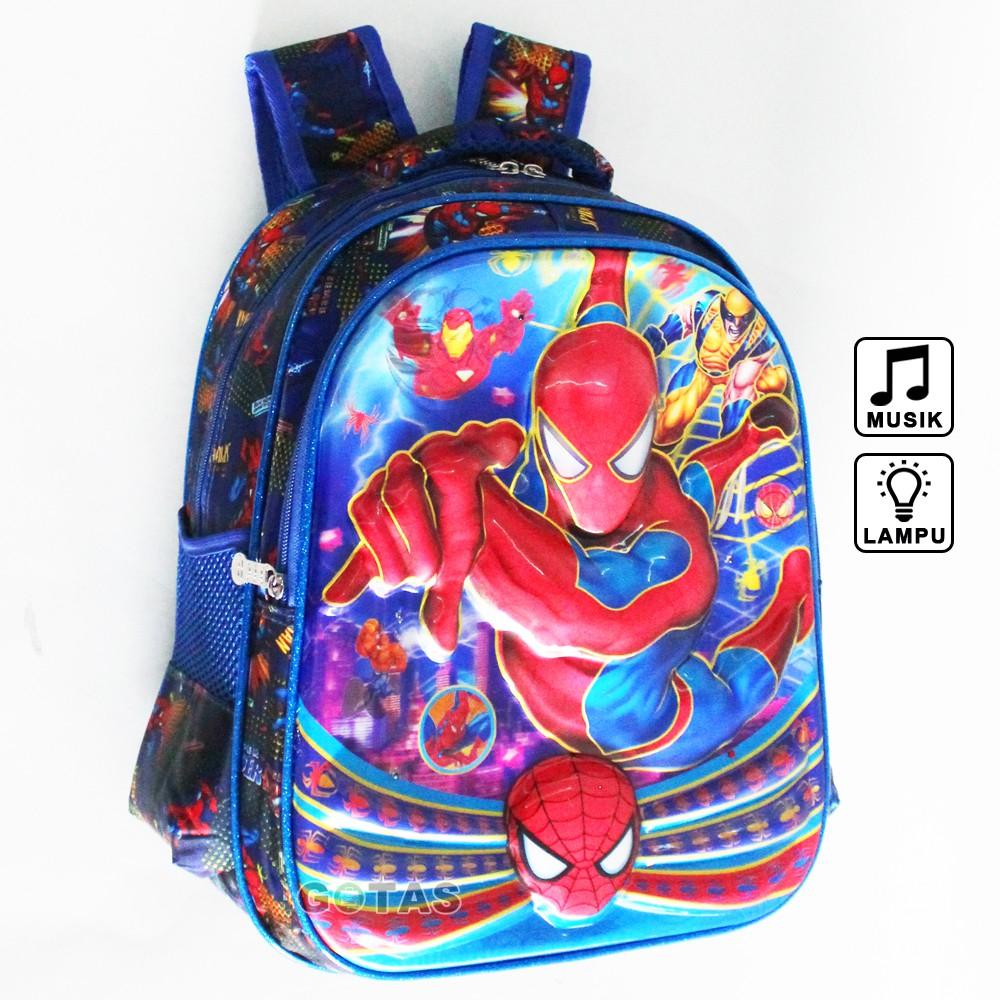 Tas Ransel Lampu Music Sekolah Anak Avengers 7D Timbul 36cm Biru Full Motif 3 Kantong | Shopee Indonesia