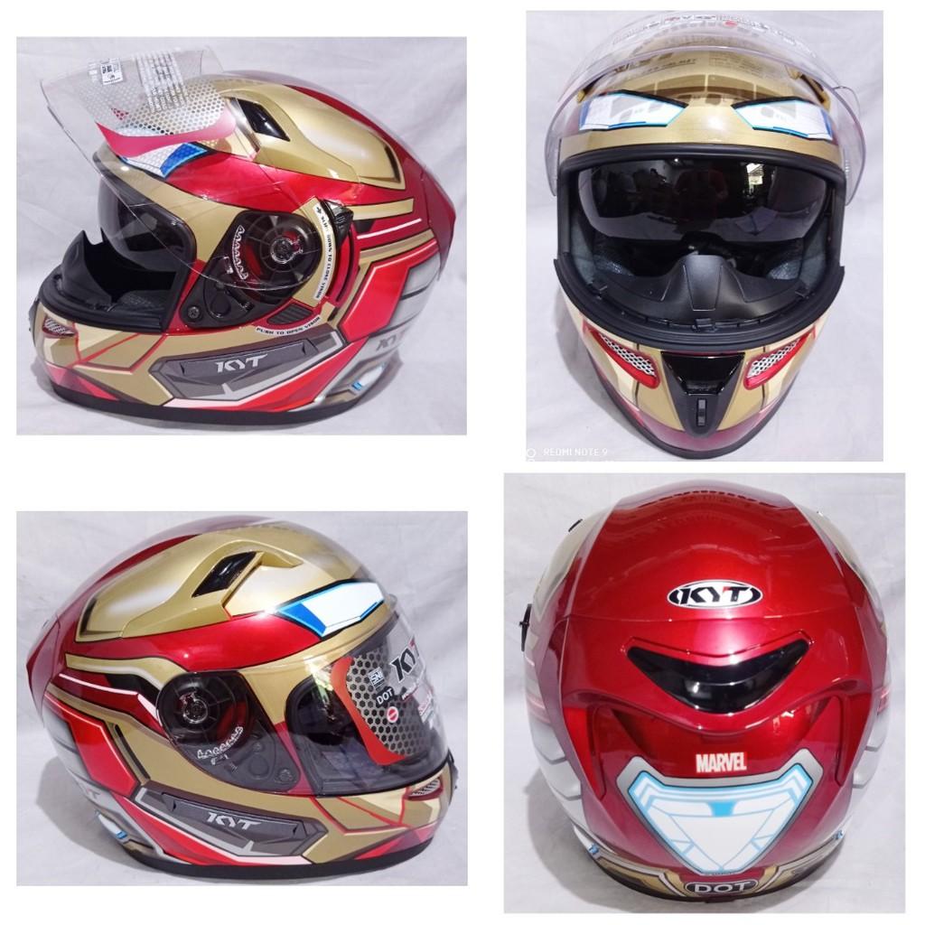 Helm KYT K2 Rider Iron Man Maroon Yellow