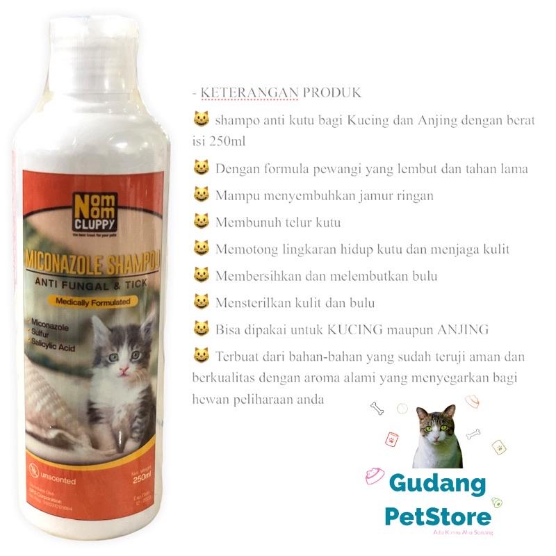 Shampoo Obat Miconazole NOM NOM CLUPPY jamur kutu melembutkan mengembangkan bulu kucing anjing-2
