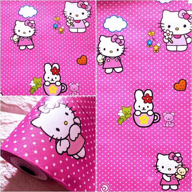 Grosir Murah Wallpaper Stiker Dinding Kartun Hello Kitty Polkadot