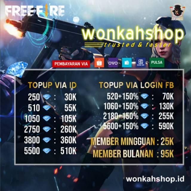 Topup Murah Freefire Via Login Fb Vk Shopee Indonesia