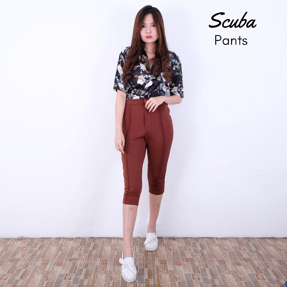 Scuba Pants Shopee Indonesia Nagita Zara List Side Stripe Hitam Merah Bahan
