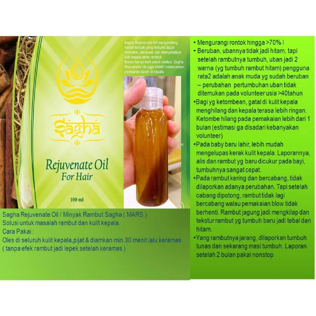 Sagha Rejuvenate Oil for Hair / Minyak Rambut Sagha MaRS   Shopee Indonesia