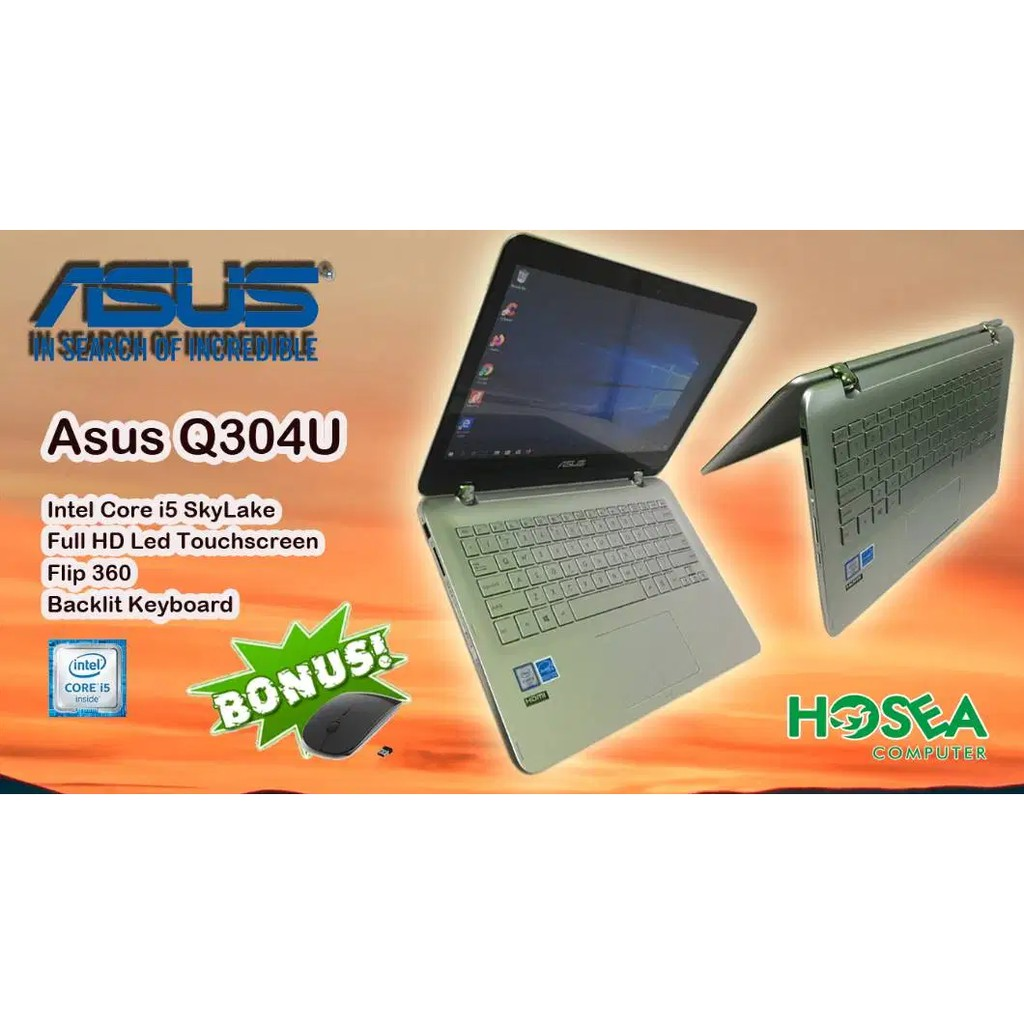 Laptop asus Q304U core i5-gen6 Ram 8gb hdd 1tb Touchscreen
