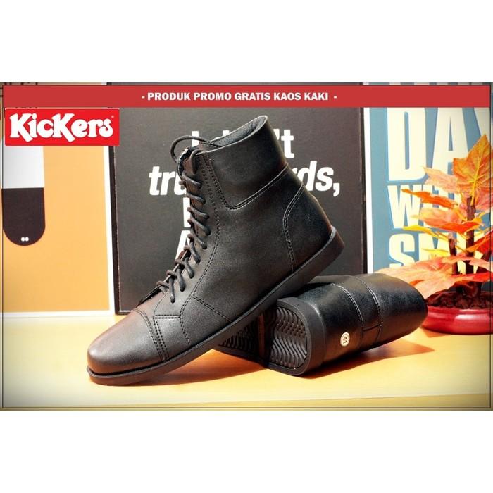 Sepatu boots casual pria kickers slim hitam