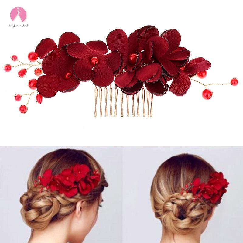 Ayw Sirkam Hiasan Rambut Bridal Handmade Model Bunga Warna Merah