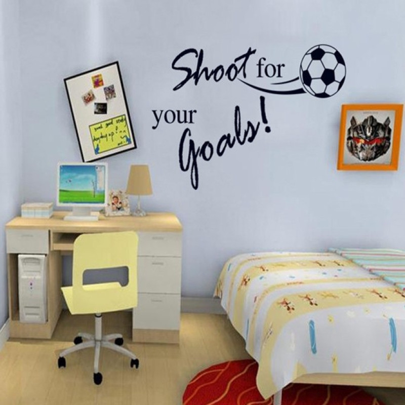 Shoot For Your Goals Dekorasi Kamar Gaya Sepak Bola Dinding Stiker Shopee Indonesia