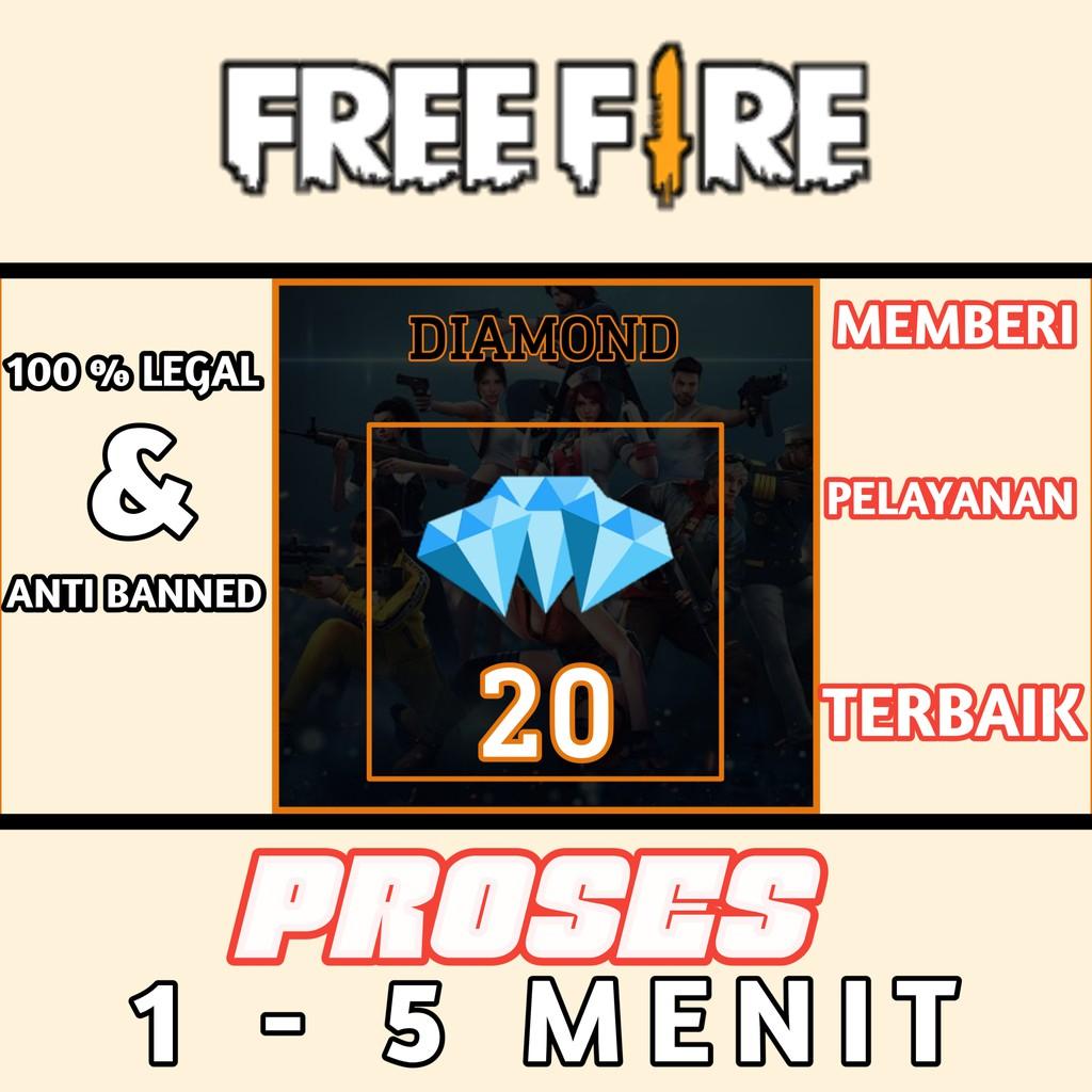 TOP UP DIAMOND FREE FIRE TERMURAH FF,  20 DIAMOND (DM) PROSES CEPAT 100% LEGAL epep