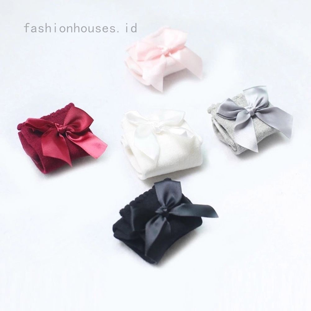 1,2,3 Pairs Girls Knee High School With Bows in 4 Sizes,4 Colours 55/% Cotton