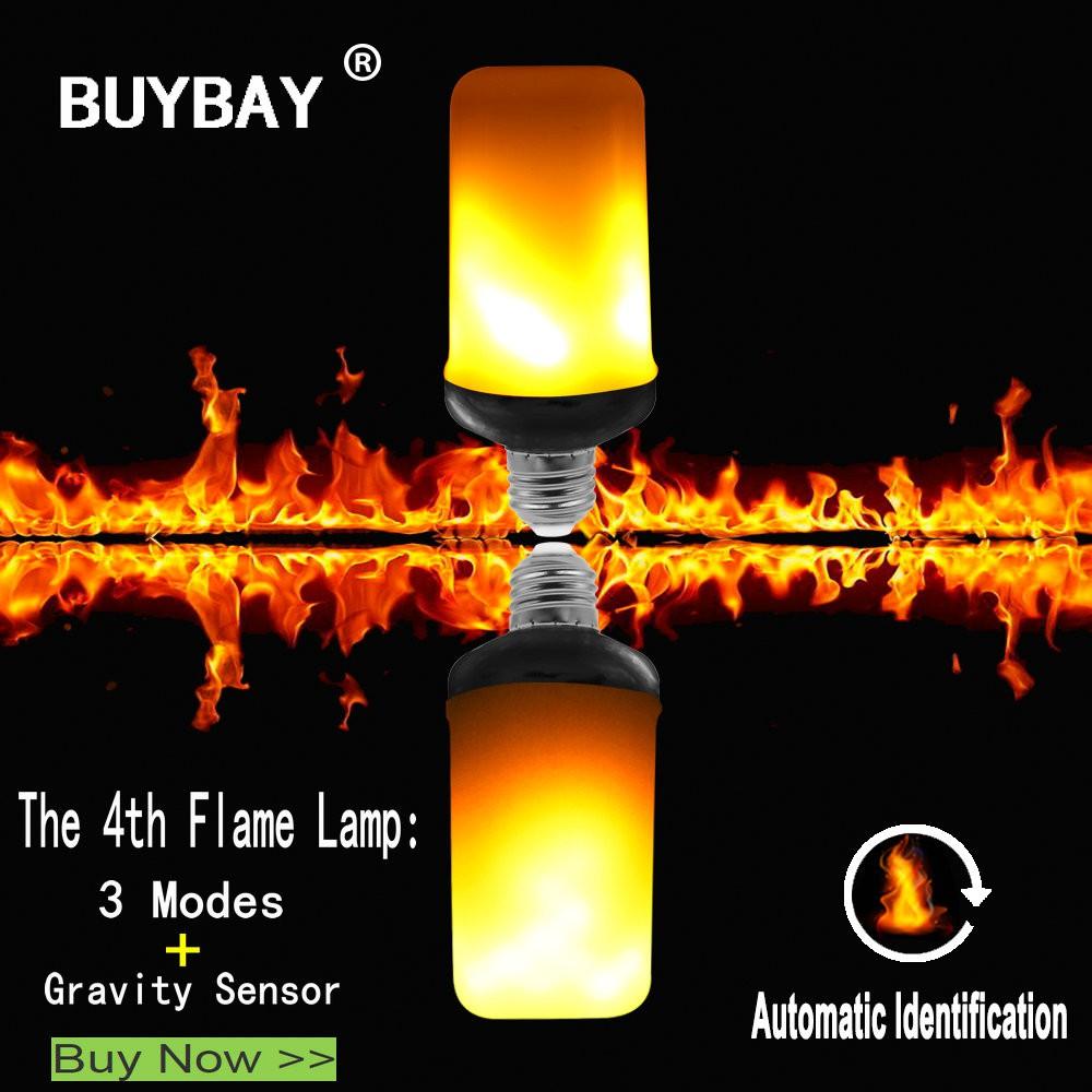 E26 Fire Light Bulb LED Flame Effect Flickering Flame Lamp 3mode gravity sensing