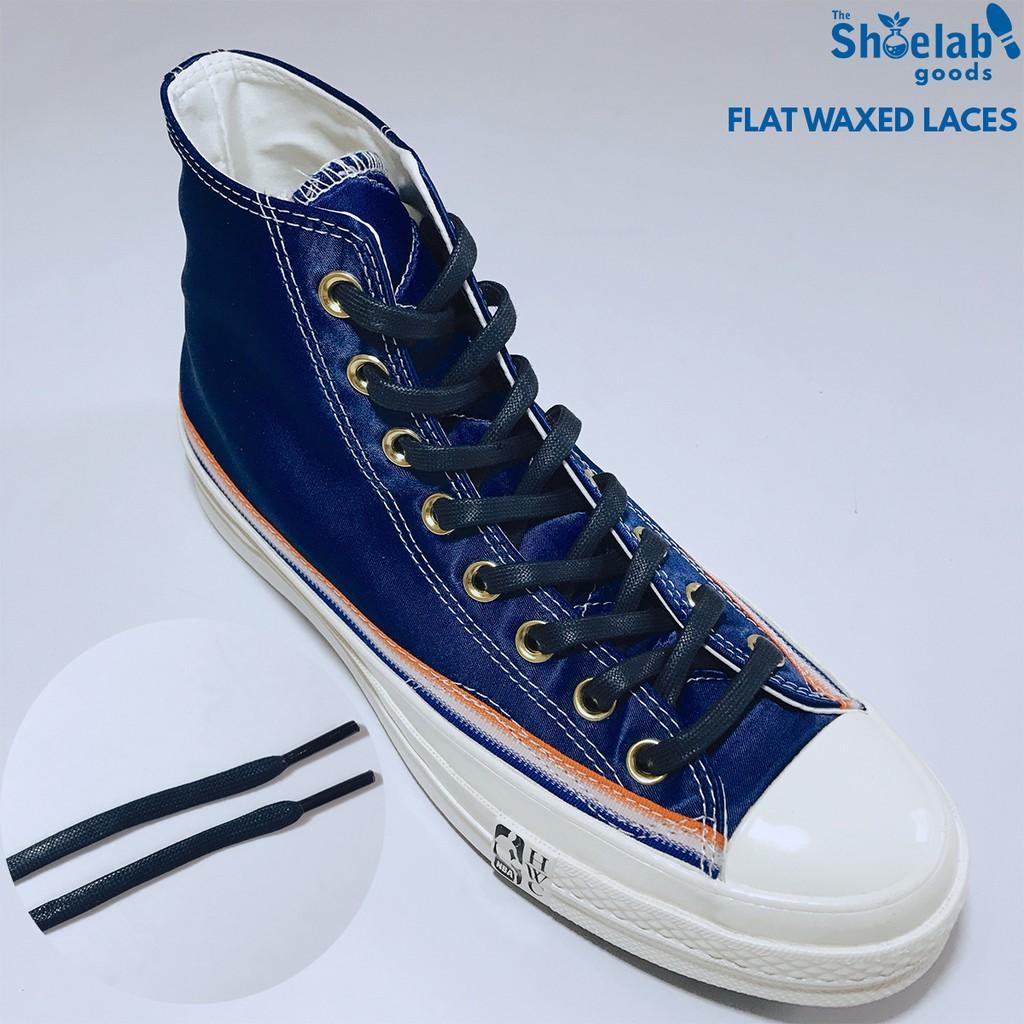 Tali Sepatu Lilin Gepeng Shoelaces Flat Waxed Laces Navy