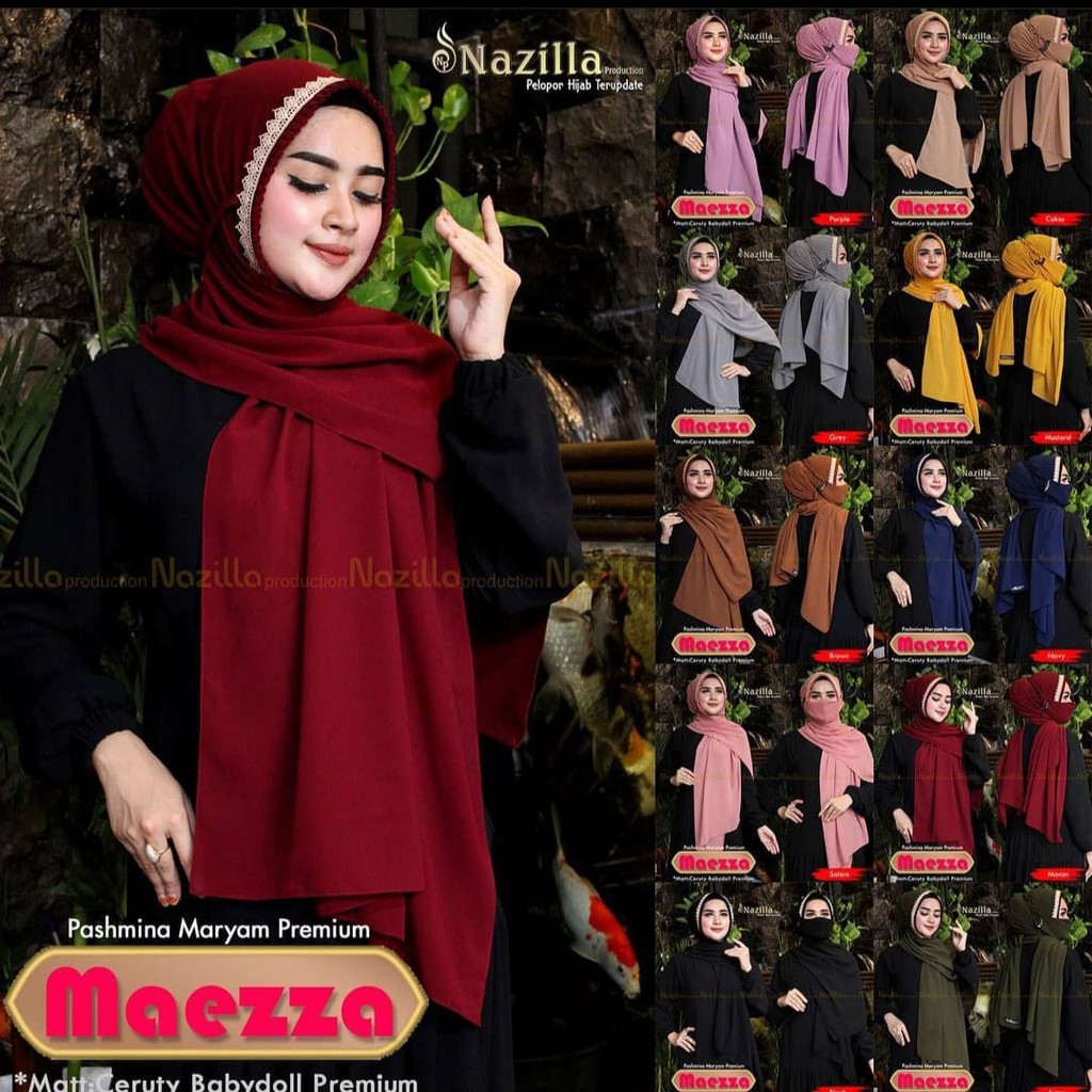 Kerudung Wanita Dewasa Free Masker - Hijab Pasmina Rempel Bando Payet - Jilbab Pashmina Model Maezza