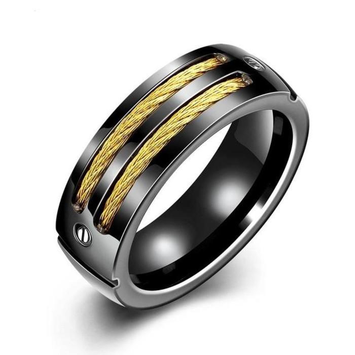 Promo Perhiasan Cincin pria Size 10 black gold wire DA 452 Murah   Shopee Indonesia