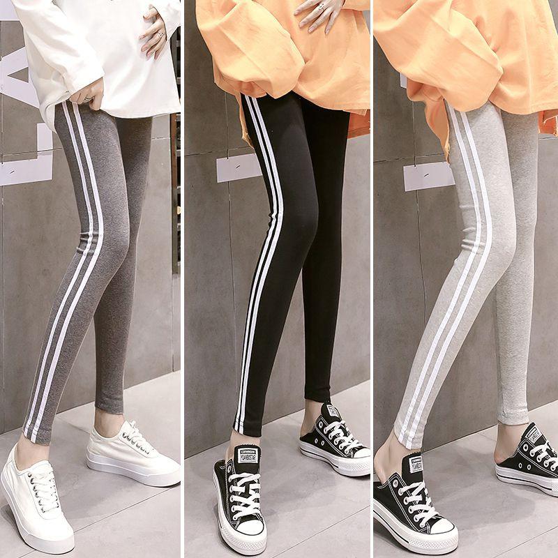 Celana Legging Panjang Motif Garis Samping Warna Polos Untuk Wanita Shopee Indonesia