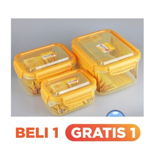 Lock & Lock Gift Set Plastic Food Container 4 Item With Color Box hpt806as | Shopee Indonesia