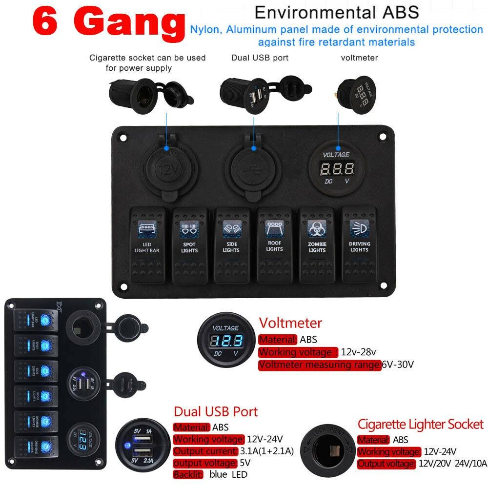 8 Gang ON-OFF Toggle Switch Panel with 2 USB Socket Charger LED Voltmeter 12V for Car Boat Marine RV Truck Camper