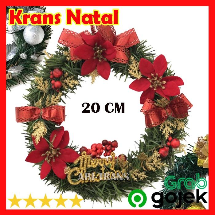 Dekorasi Karangan Bunga Hiasan Natal Pintu Wreath Krans Murah 20 Cm 34 85 Shopee Indonesia