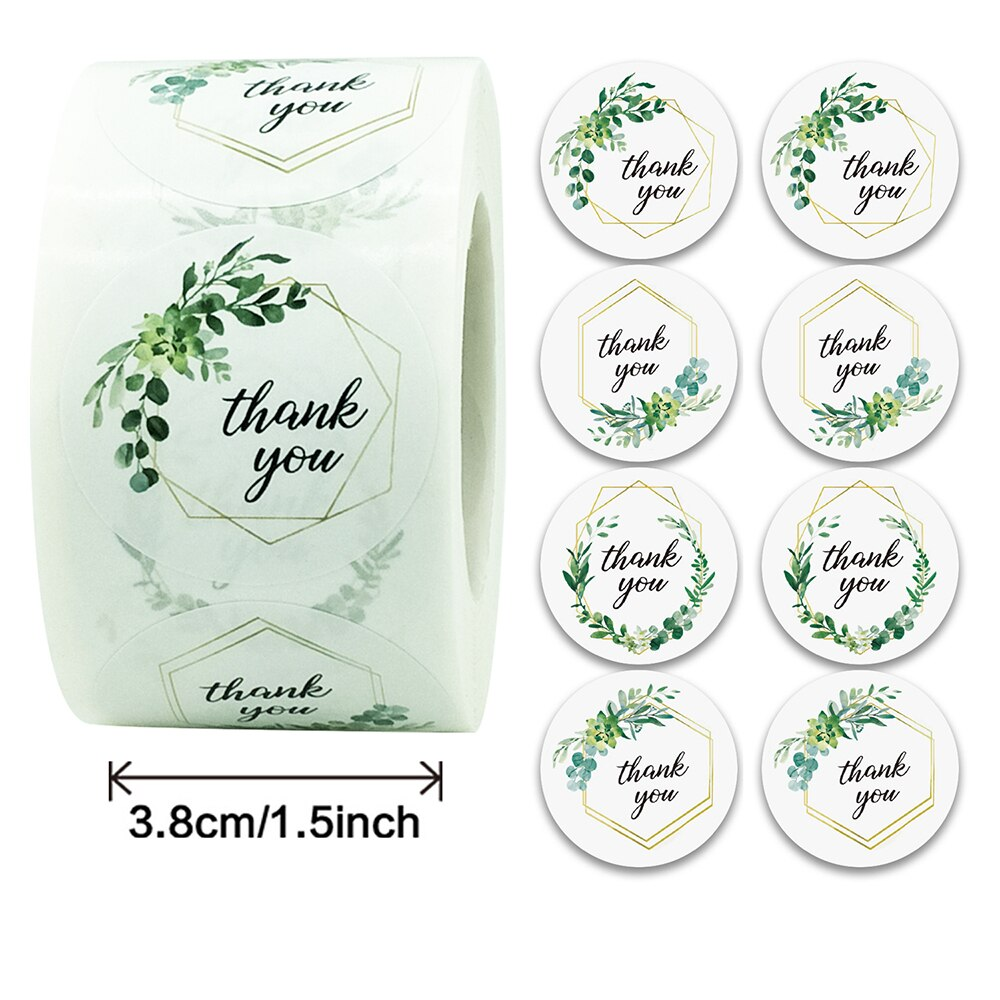 3 8cm Green Grass Thank You Round Sticker Label 500pcs Roll For Party Gift Packaging Sealing Decoration Shopee Indonesia
