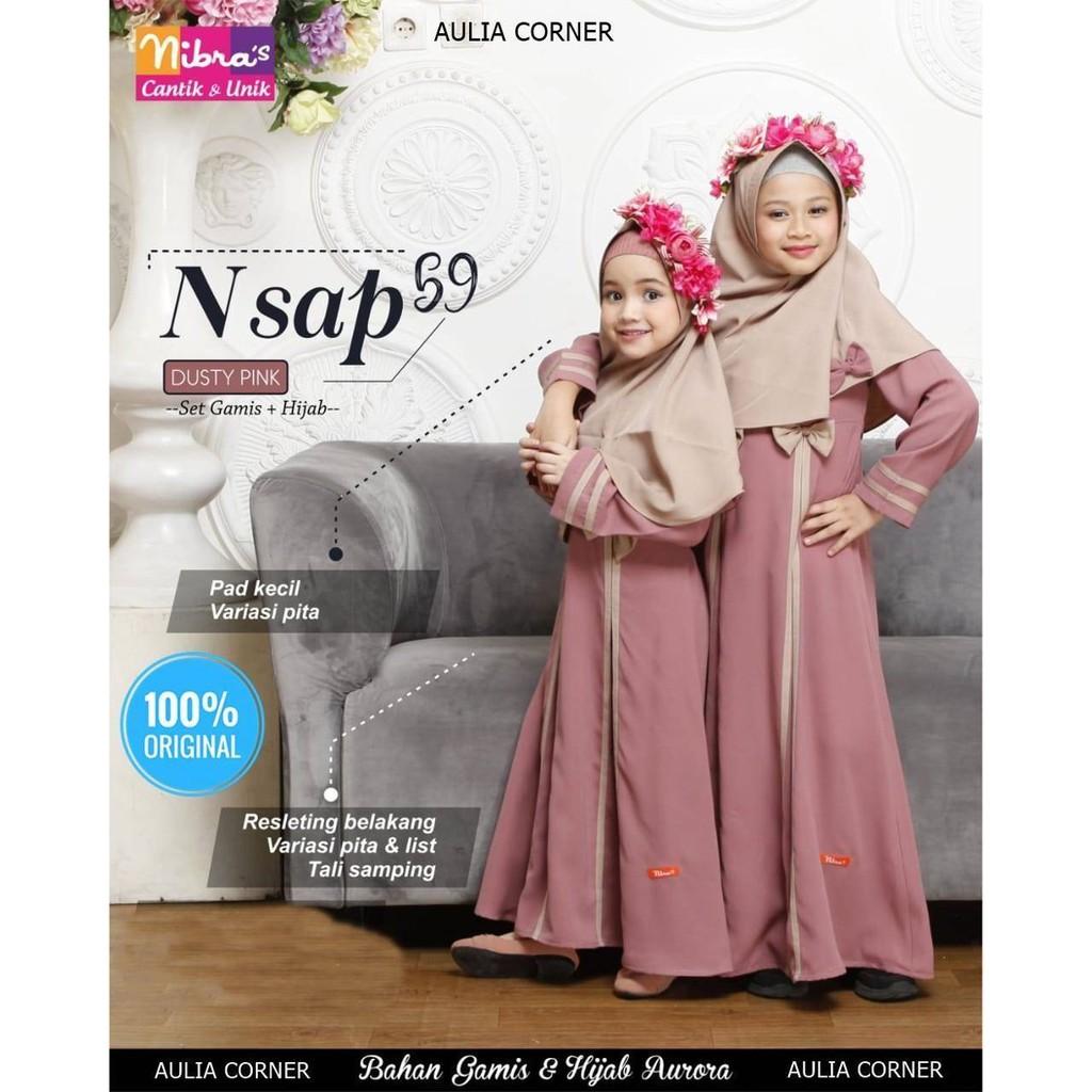 Baju Muslim Gamis Anak Terbaru Nibras Nsap 10 Dusty Pink ORIGINAL Model  Gamis Brokat Anak Kecil