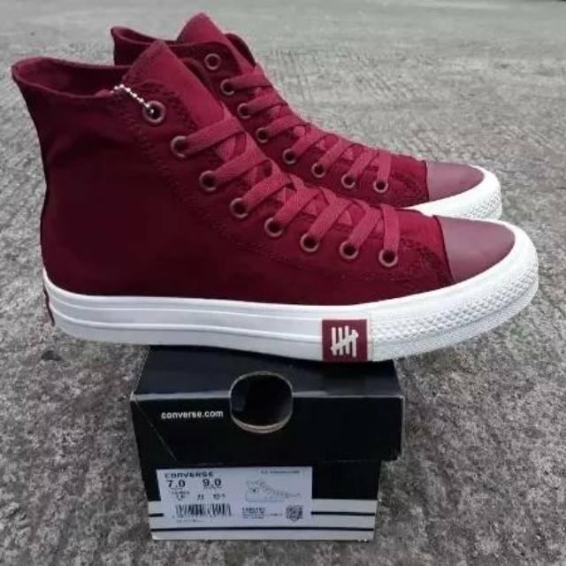 Sepatu Converse All Star Undefeated Chuck Taylor 2 Petir High - Merah Maroon 1b4625b575