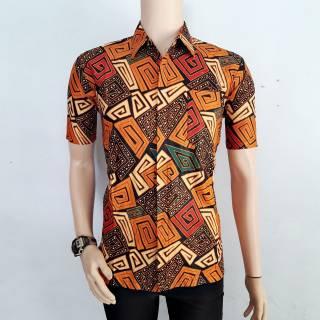 Mf58 Atasan Batik Baju Kemeja Batik Pria Modern Kemeja Formal Kerj