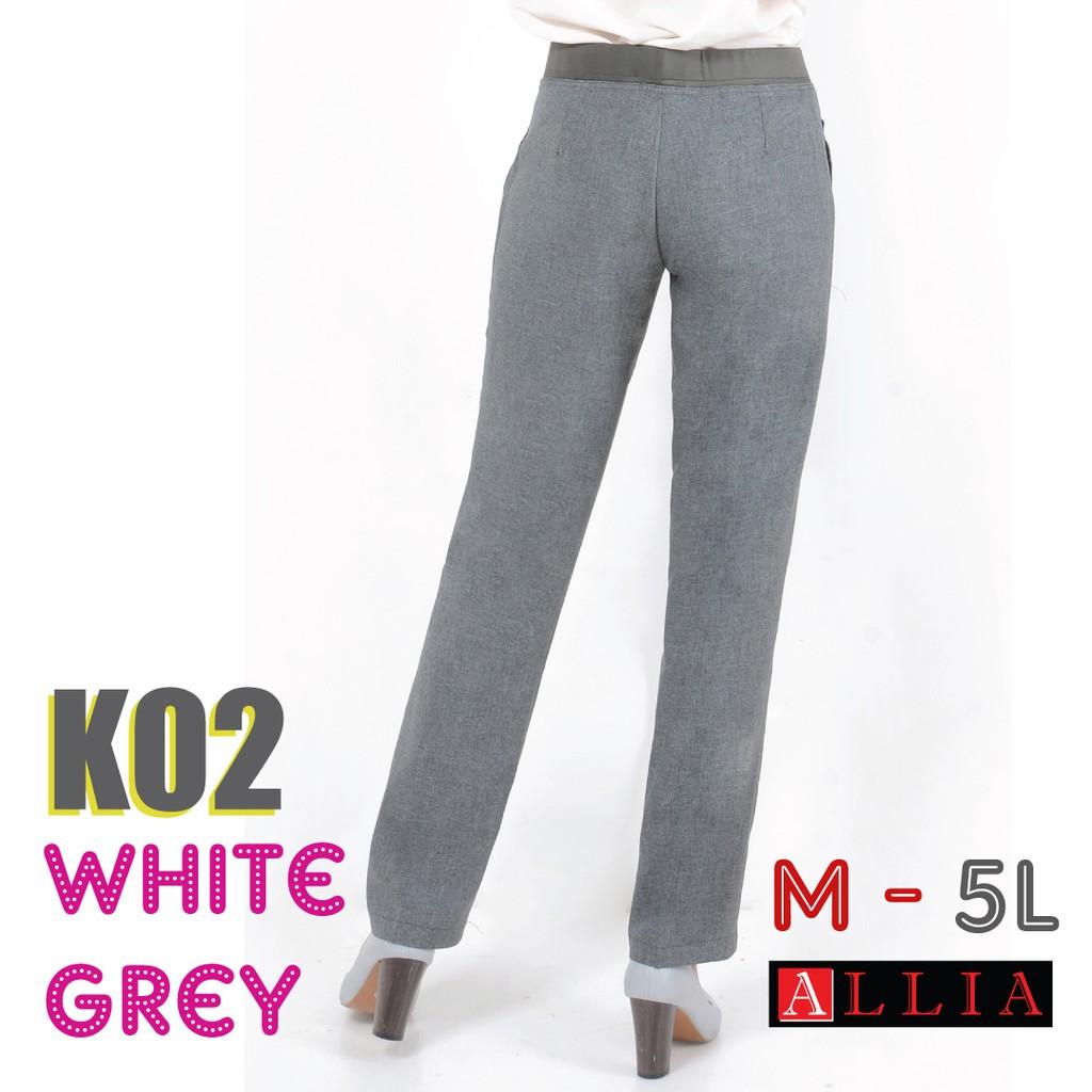 Celana Karet Pinggang K02 White Grey M 6l Kerja Wanita Jumbo