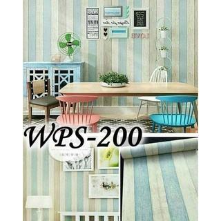 wallpaper sticker dinding kayu garis biru krem putih
