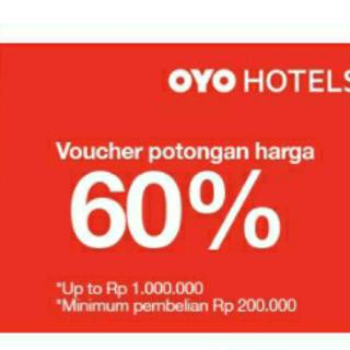 Voucher oyo 60% up to 1000.000