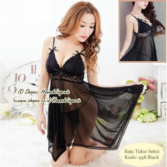 Baju Tidur Sexy Murah Halus Import Quality Lingerie Seksi Transparan Ungu  Hot  51092256b8