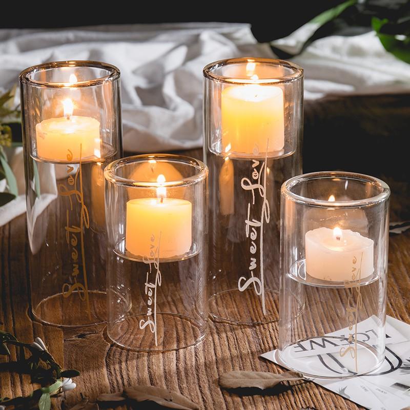 Dekorasi candlestick, Nordic romantis Candlelight Dinner alat peraga kaca Eropa meja makan rumah, Kecil candlestick, Aromaterapi cangkir lilin | Shopee Indonesia