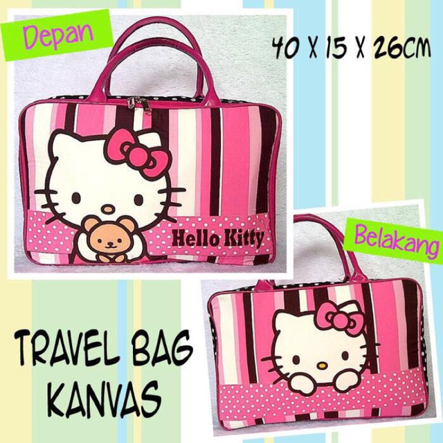 Tas Travel Bag Kanvas Hello Kitty PINK GARIS GARIS / Tas Renang Piknik Super | Shopee Indonesia