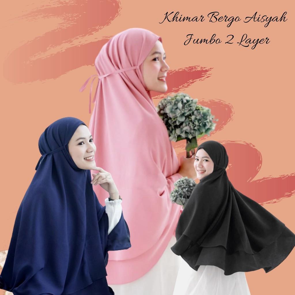 Jilbab Bergo Jumbo Aisyah 2 Layer Tali Finishing Jahit Instan Khimar Kalya Syari Non Pet 2 Layer Shopee Indonesia