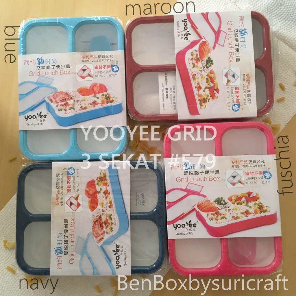 Lunch Box Yooyee Grid 5 Sekat Anti Tumpah 590 Shopee Indonesia Leakproof Lunchbox Mini 605 Kotak Makan 4 Biru Muda