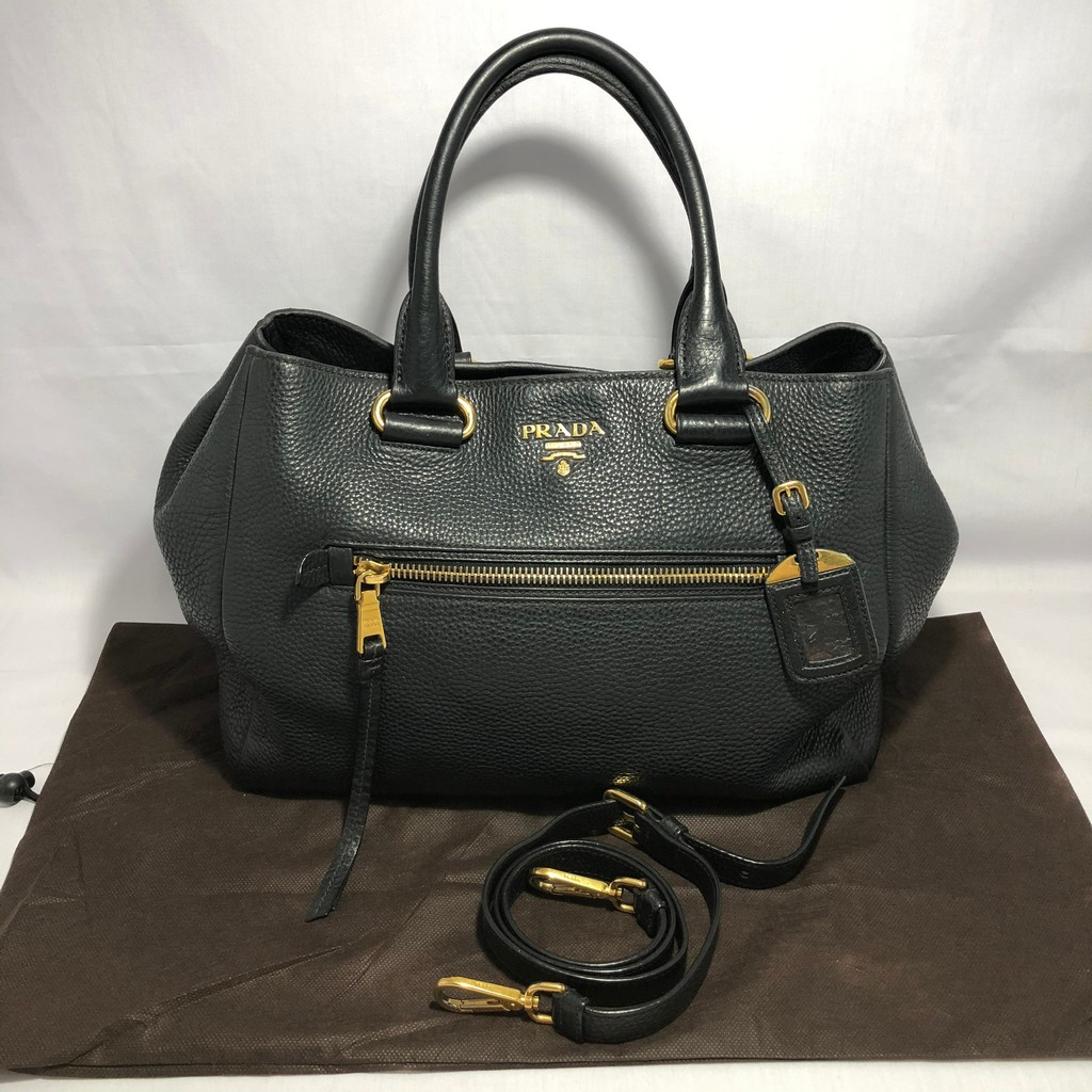 Preloved Prada Vit Daino Black Leather