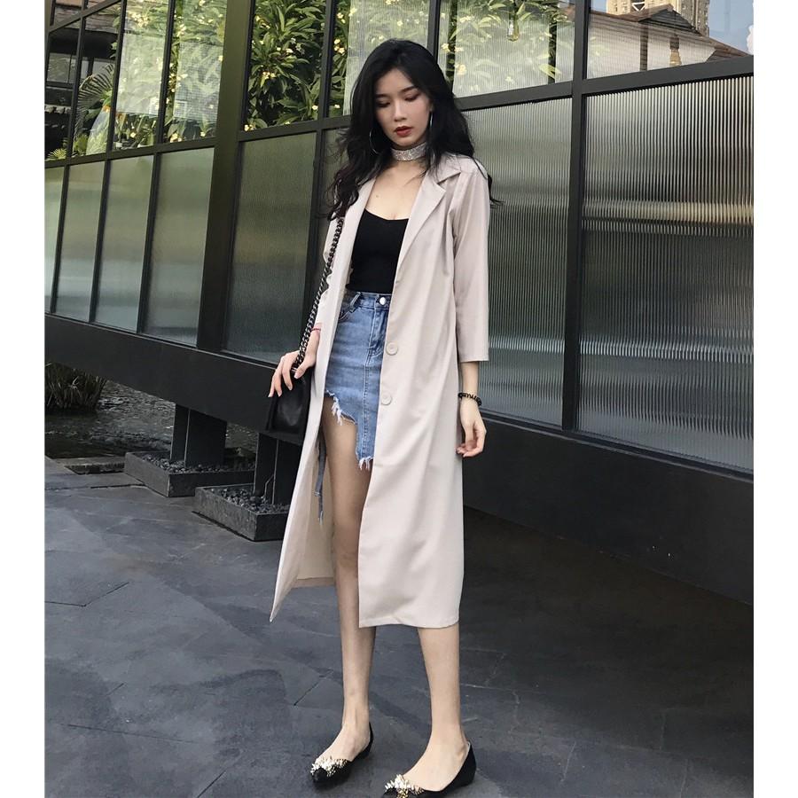 Cardigan Panjang Berkerah Lengan Panjang Motif Kotak-Kotak Warna Putih/Biru Navy untuk Wanita | Shopee Indonesia