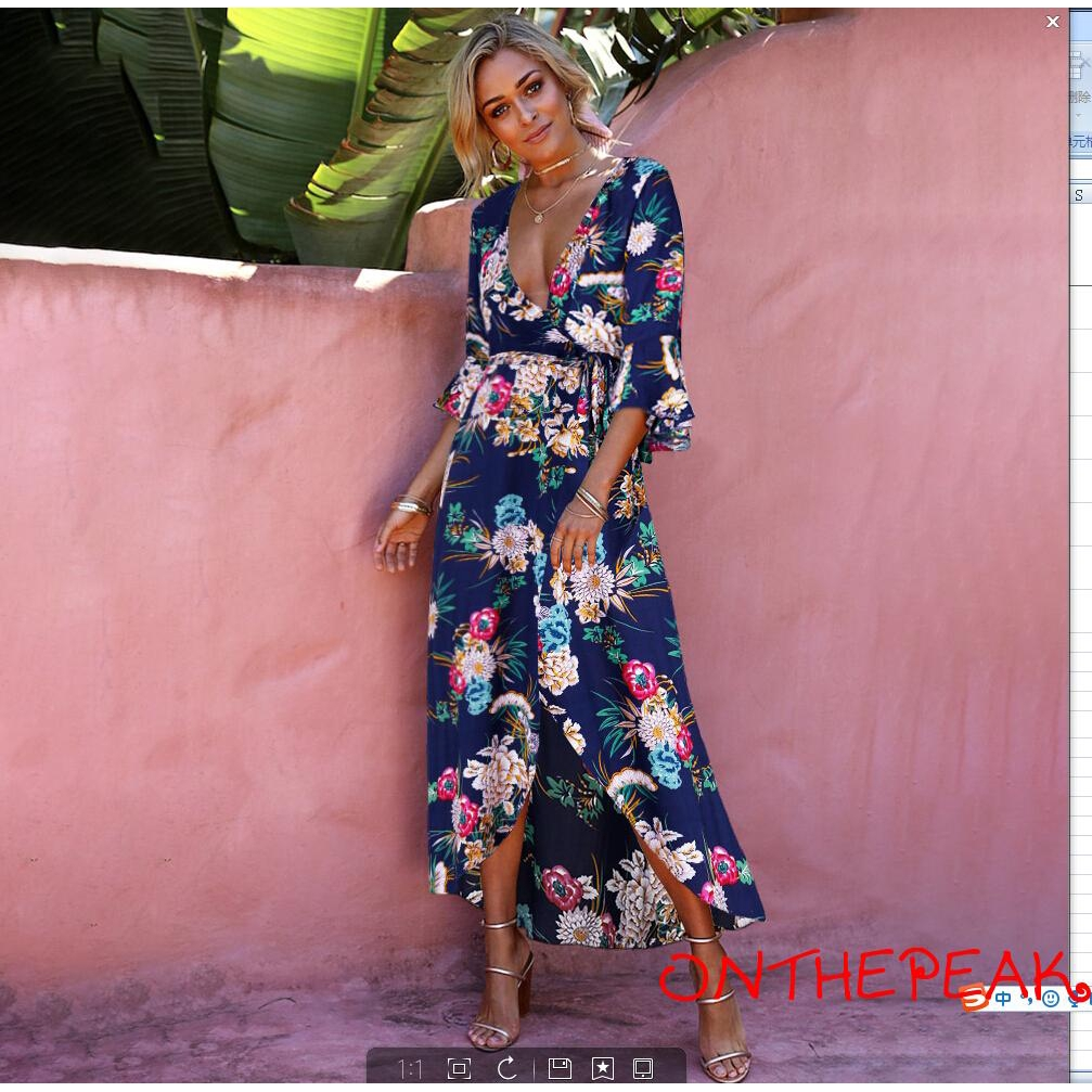 Women Summer Boho Long Maxi Dress Evening Cocktail Party Beach Dresses Sundress