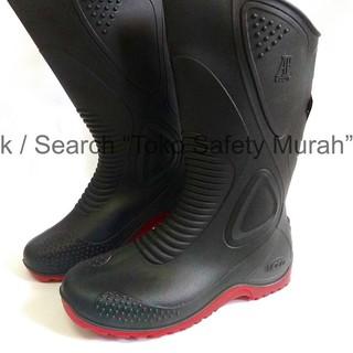 Diskon Lebaran,,,,!! AP Boots Moto 1 Sepatu Boot Biker Karet Merah Hitam Tinggi ½ Betis Hitam,.,.,., | Shopee Indonesia