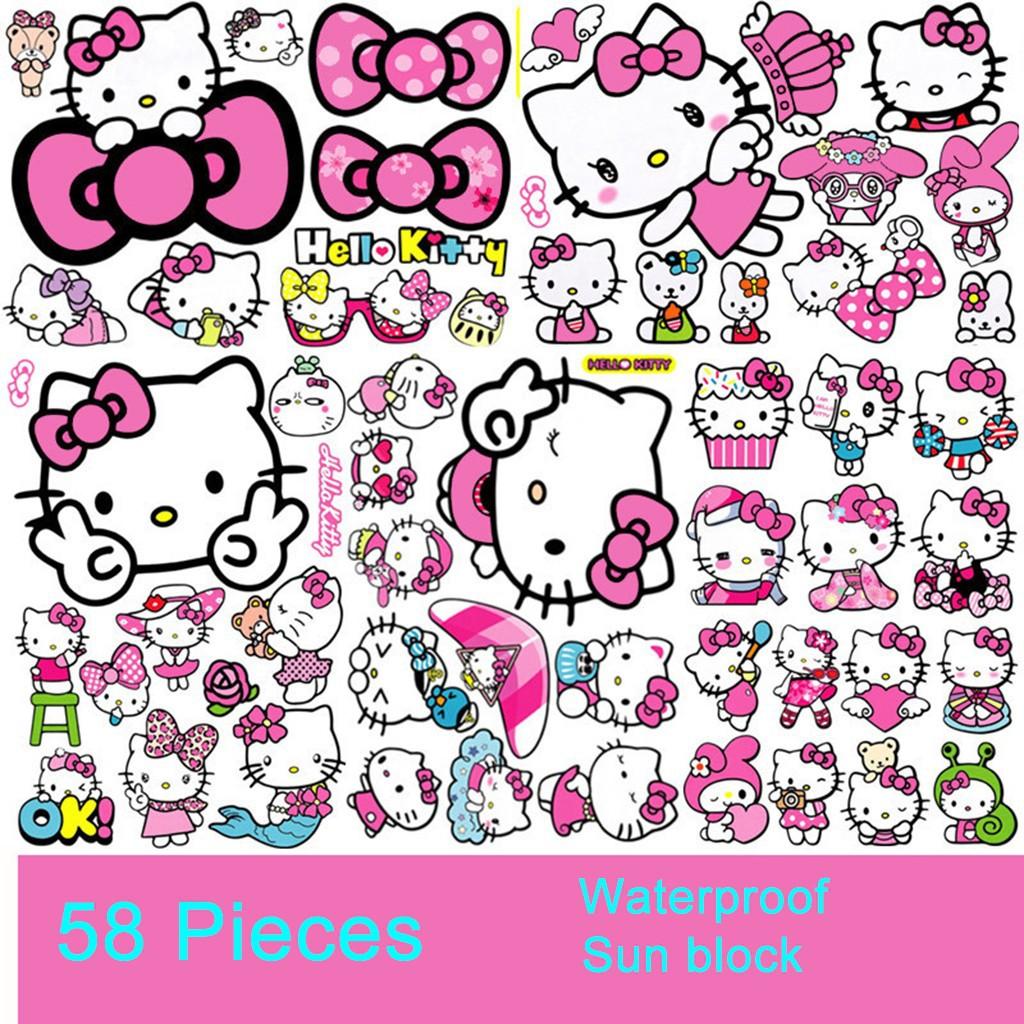 58Pcs Stiker Gambar Hello Kitty Untuk Mobil Sepeda Motor Laptop