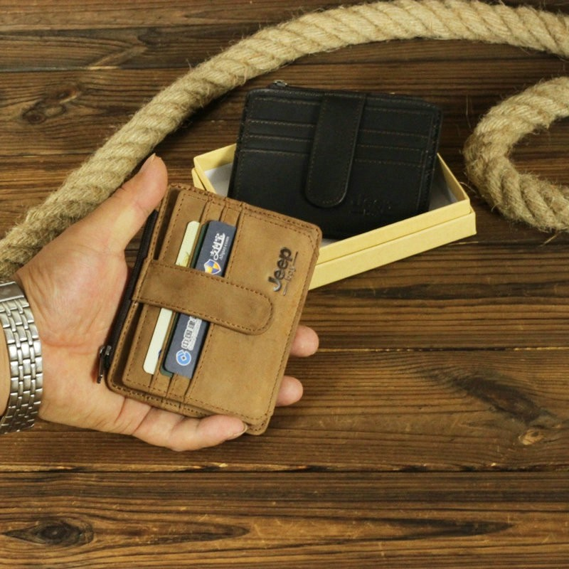 Paket Jeep boy pria kulit retro kartu ultra-tipis dompet koin multi-card SIM satu paket dokume