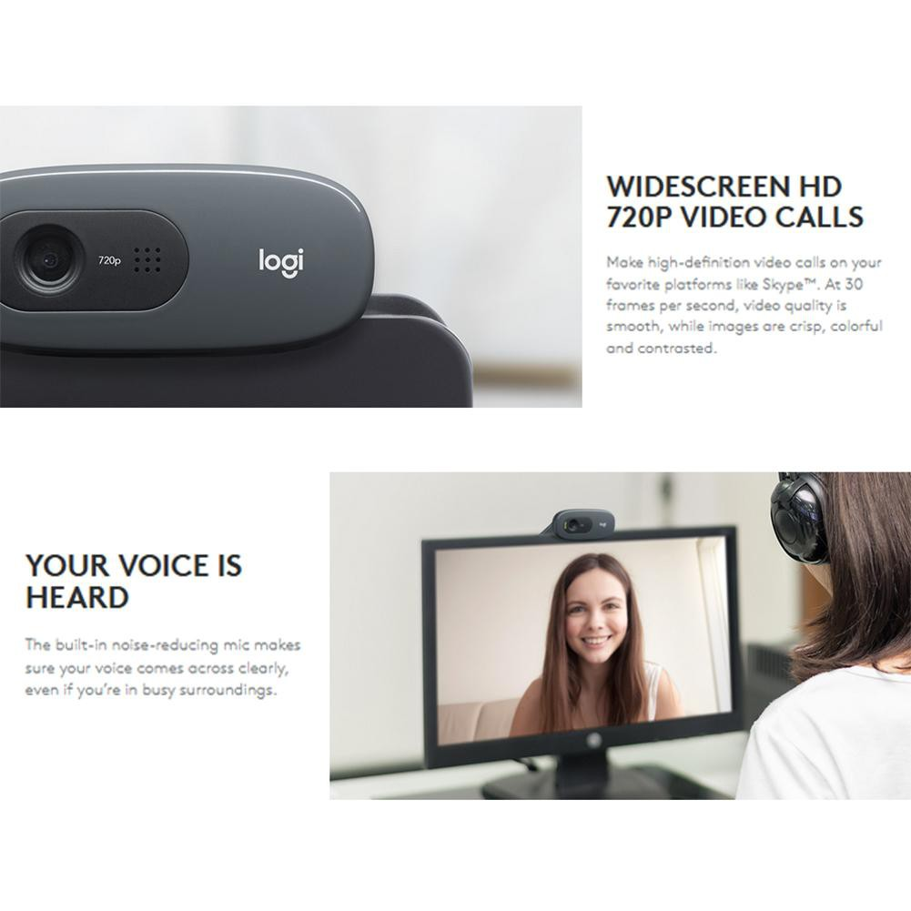 NEW LOGITECH HD Laptop Desktop Computer Webcam Camera with Mic Chat Skype