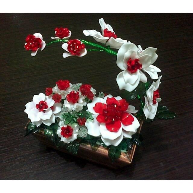 Bunga Anggrek Mawar Manik Akrilik Shopee Indonesia