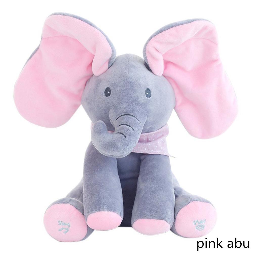 【Ready 】Boneka Gajah Dengan Musik Lagu Telinga Bergerak Bahan Plush Untuk Bayi Anak