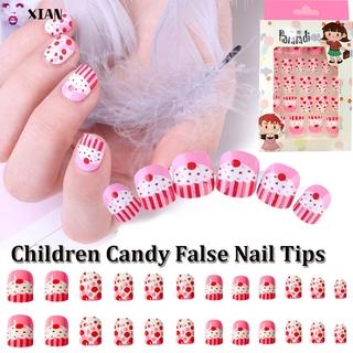 WITH PRESS GLUE 24pcs Box Kuku Palsu Full Cover Dapat Dilepas Untuk Anak thumbnail