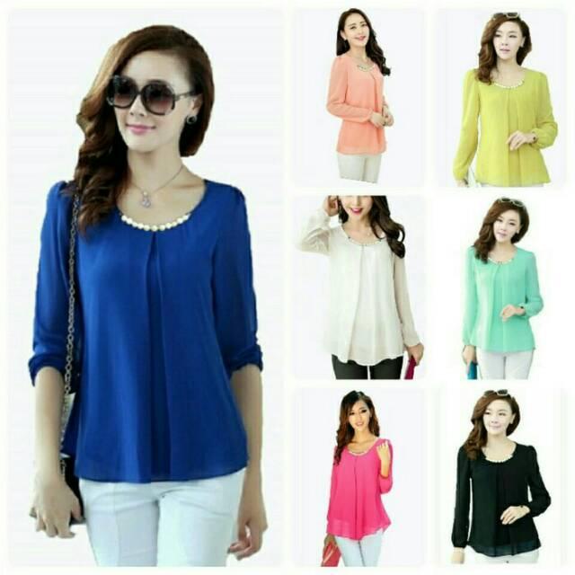 Fashion Wanita - Atasan - Blouse Atasan Spandek Korea Import Bigsize Fit To  Xxl xl l m o Kode E22138 b3475a4145