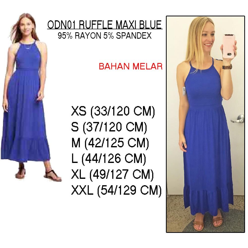 Odn01 Ruffle Maxi Old Navy Dress Pantai Wanita Tanpa Gamis Katun Jepang Merona Lengan Shopee Indonesia